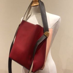 Leather crossbody purse pink/red